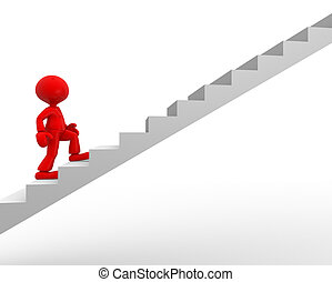 Stair - 3d people - man, person climbing stairs.