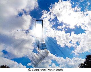Stair to heaven vivid shiny sky