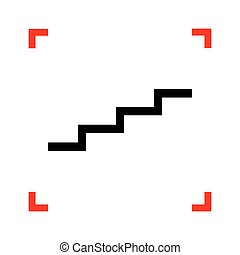 Stair up sign. Black icon in focus corners on white background.