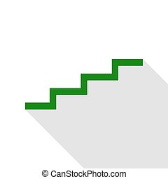 Stair up sign. Green icon with flat style shadow path.
