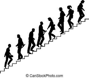 Stair walkers - Editable vector silhouette of people on...