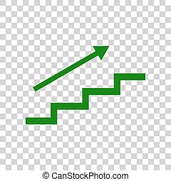 Stair with arrow. Dark green icon on transparent background.