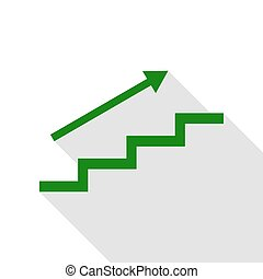 Stair with arrow. Green icon with flat style shadow path.