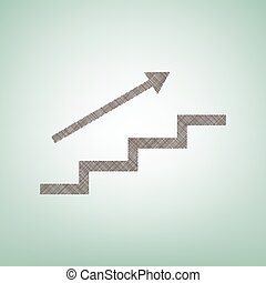 Stair with arrow. Vector. Brown flax icon on green background with light spot at the center.