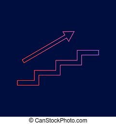 Stair with arrow. Vector. Line icon with gradient from red to violet colors on dark blue background.