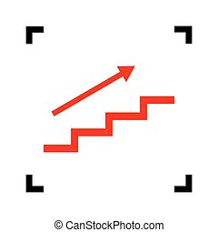 Stair with arrow. Vector. Red icon inside black focus corners on white background. Isolated.