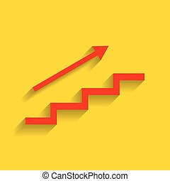 Stair with arrow. Vector. Red icon with soft shadow on golden background.