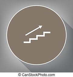 Stair with arrow. Vector. White icon on brown circle with white contour and long shadow at gray background. Like top view on postament.