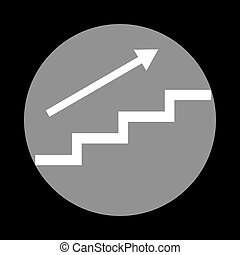 Stair with arrow. White icon in gray circle at black background.
