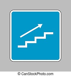 Stair with arrow. White icon on blue sign as background.