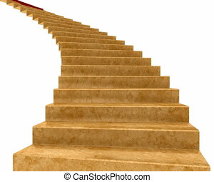 Stair with carpet - Red Carpet rolls down the stairs