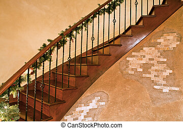 stair with christmas decoration