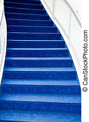 stair with luxury blue carpet