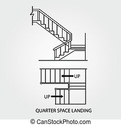 stair with quarter space landing