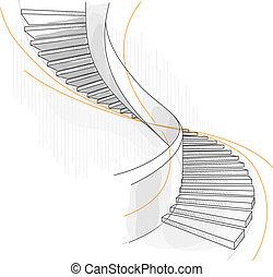 staircase., スケッチ, らせん状に動きなさい