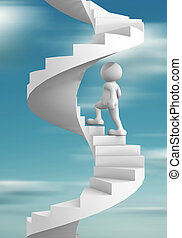 Staircase - 3d people - human character climb the spiral...