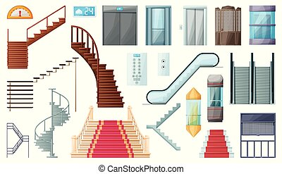 Staircase and lift vector cartoon set icon. Vector illustration stair and escalator. Isolated cartoon icon wooden of metal staircase on white background.