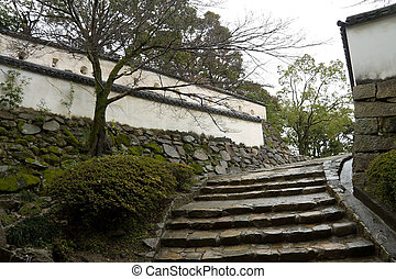 Staircase and walls of Okayama castle, Japan - Staircase and...