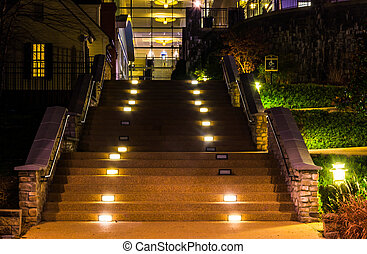 Staircase at night in National Harbor, Maryland.