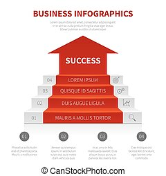 Staircase, business ladder, levels of success vector modern infographic, winning concept