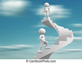 Staircase - 3d people-human character clib the spiral...