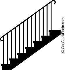 Staircase flight, flight of steps - vector