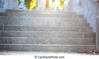 Staircase illuminated by sunlight on a mysterious way of life. Video shift motion