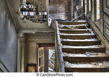 Staircase in abandoned house, hdr photo