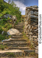 staircase in the ancient fortress