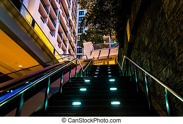 Staircase in the Gaylord National Resort, in National Harbor, Maryland.