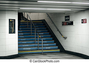 Staircase in Union Station, in Toronto, Ontario.