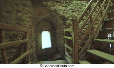 Staircase inside tower - Steadicam camera on Staircase...