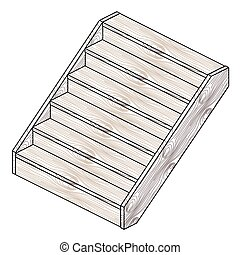 Staircase - Isometric wooden staircase