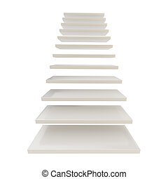 Staircase ladder made of white steps isolated - From bottom...