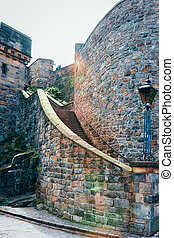 Staircase leading to Edinburgh Castle in Scotland