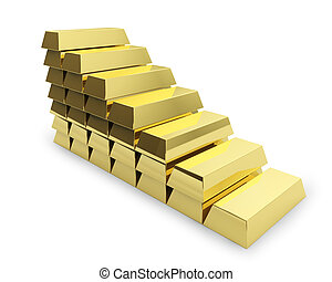 Staircase made of golden bars