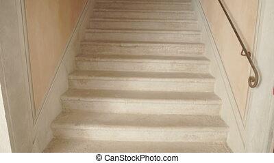 Staircase of a European building - Tilting shot of a...