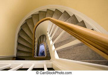 Staircase - Old stairway in an elderly building in Denmark