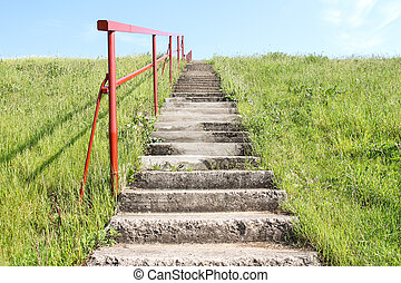 Staircase on a small hill