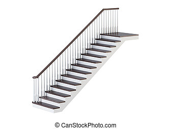 Staircase on a white background. 3D rendering.