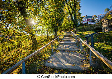 Staircase on the trail to Jefferson Rock, in Harpers Ferry,...