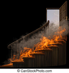 staircase - burning wooden twisted staircase and opened...