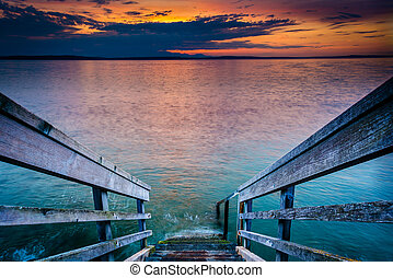 Staircase to Elliott Bay at sunset, in West Seattle, Washington.