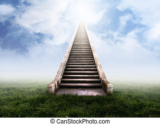 Stairs leading up into the clouds in a foggy meadow