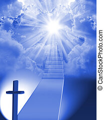 Staircase to heaven - Long stairway to heaven with light at...