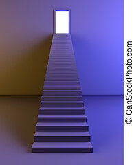 Staircase to the Light - 3D rendered Illustration.