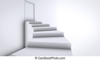 Ascent to the top of the stairs. opening doors to a bright world