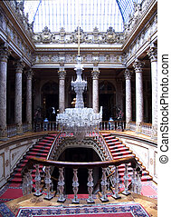 Staircase with chandelier, Dolmabahce Palace, Istanbul,...