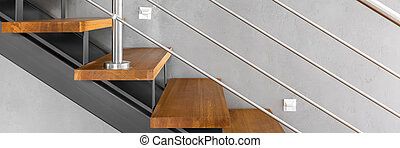 Staircase with chromed railing - Panorama of stylish wooden...