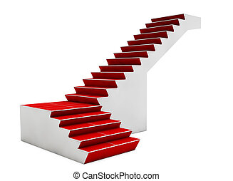 Staircase with red carpet isolated on white background. 3d render